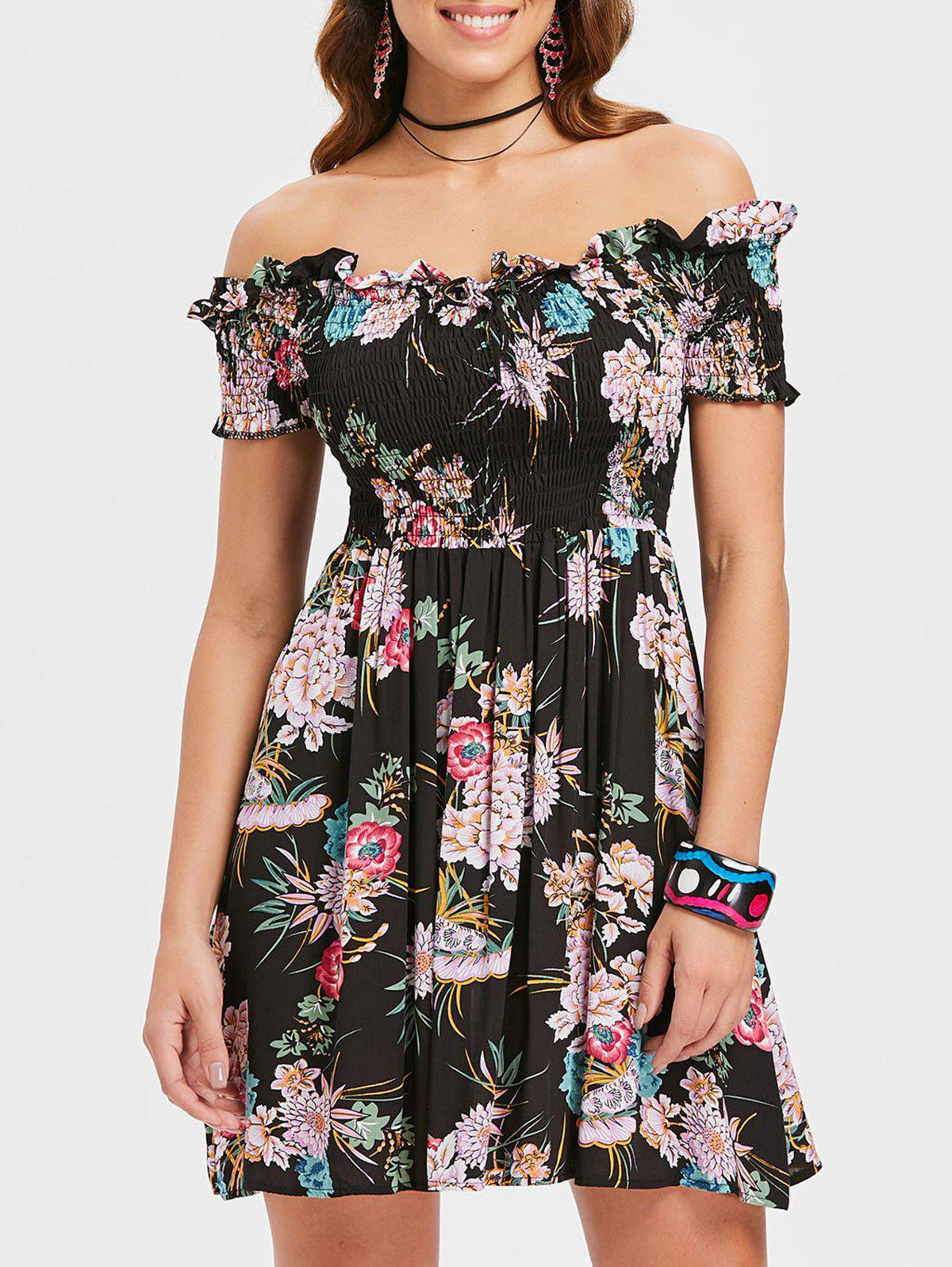 Trendy Full Print Off Shoulder Ruched Dress