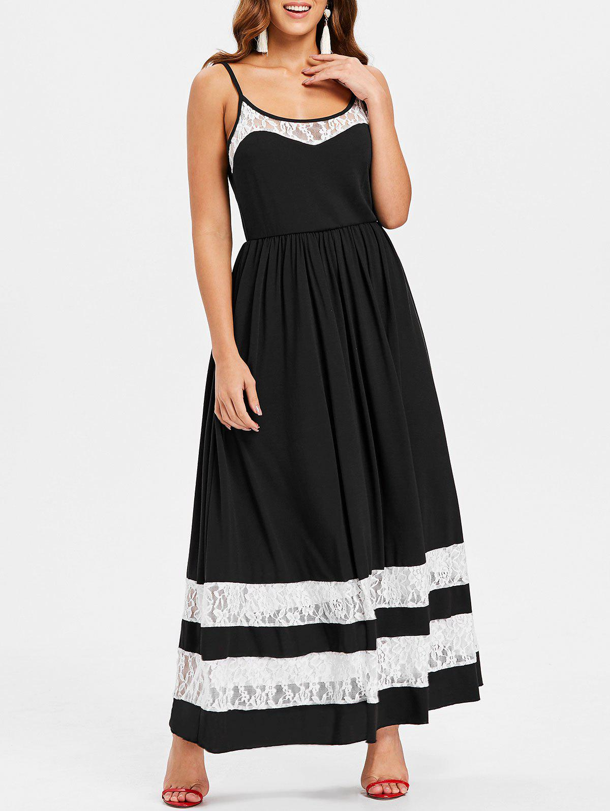 Unique Color Block Lace Floor Length Dress