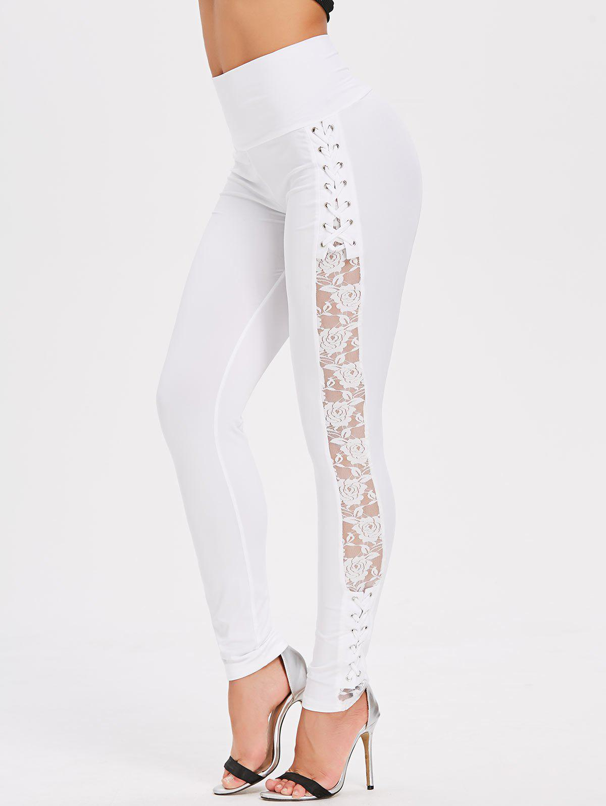 Fashion Criss Cross Sheer Lace Panel Skinny Pants