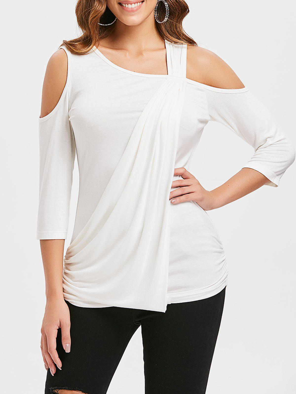 Trendy Cold Shoulder Ruched Side T-shirt