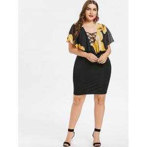Floral Print Plus Size Overlay Bodycon Dress -