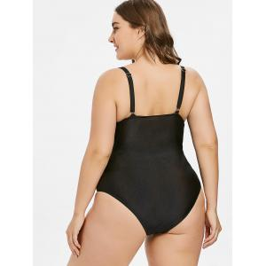 Two Tone Open Back Plus Size Swimsuit -