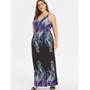Plus Size Paisley Maxi Slip Dress -