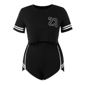 Plus Size Number Top and Shorts Set -