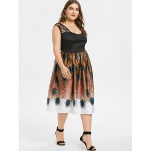 Plus Size Peacock Feather Lace Insert Dress -