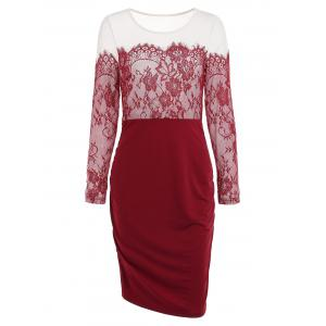 Lace Panel Full Sleeve Sheath Dress -