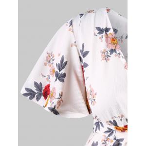 Short Sleeve Floral Print Surplice Blouse -