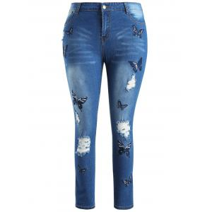 Plus Size Butterfly Embroidered Ripped Jeans -