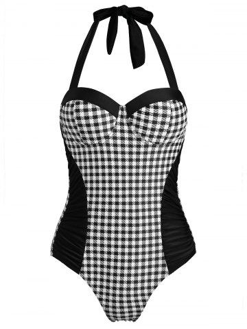 Plaid Halter One Piece Swimsuit - Black - Xl