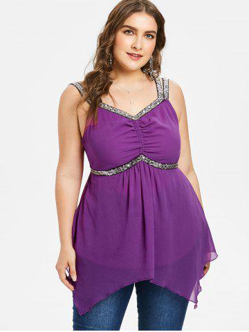 Plus Size Sequins Trim Handkerchief Tank Top