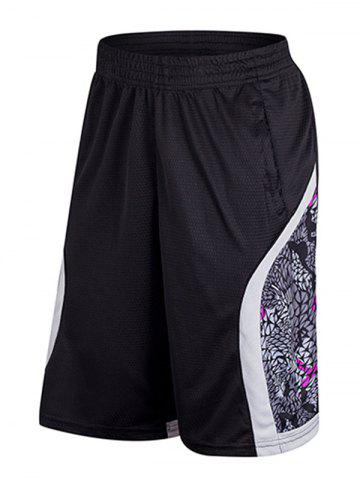 Outfit Geometric Print Patchwork Casual Basketball Shorts