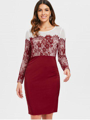Lace Panel Full Sleeve Sheath Dress