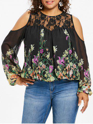 Plus Size Lace Yoke Cold Shoulder Blouse - Black - 1x
