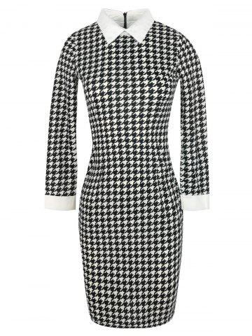 Discount Bodycon Houndstooth Pattern Knee Length Dress