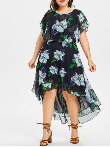 Fancy Plus Size Floral High Low Dress
