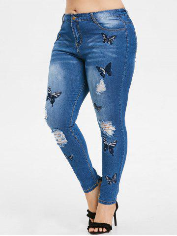 82a914b4b0813 Plus Size Butterfly Embroidered Ripped Jeans