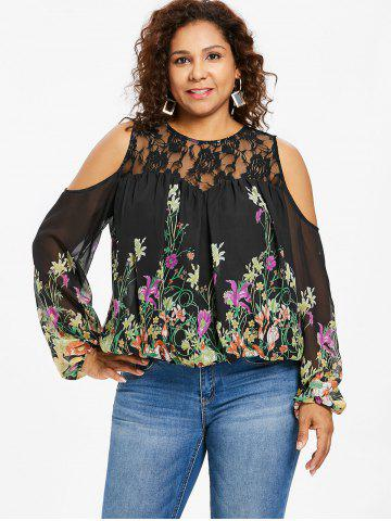 Plus Size Lace Yoke Cold Shoulder Blouse