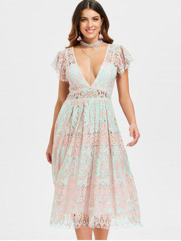 Low Cut Lace Skater Dress