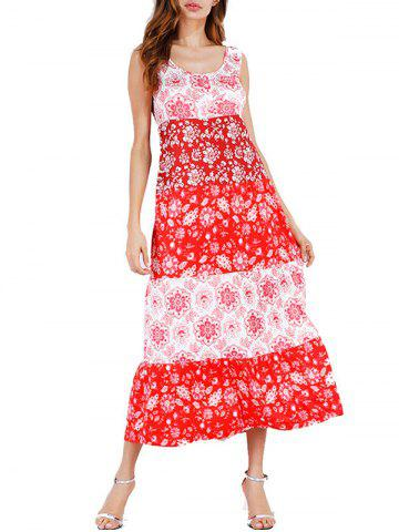 Color Block Floral Print Mid Calf Dress