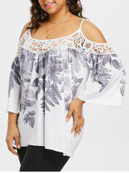Plus Size Leaf Print Flare Sleeve Top -