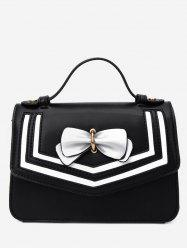 Color Block Bow Decorated Flap Handbag with Strap -