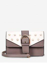 Buckled Faux Pearls Flapped Color Block Crossbody Bag -