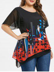 Plus Size Geometric Print Back Overlay Blouse -