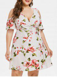 Plus Size Cold Shoulder Wrap Dress -