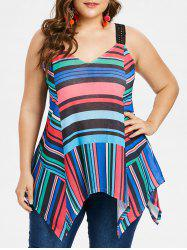 Color Block Striped Plus Size Asymmetrical Tank Top -