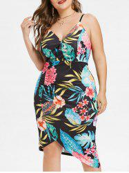 Plus Size Floral Asymmetric Tulip Dress -