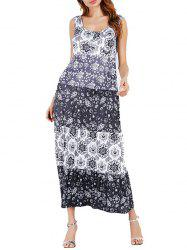 Color Block Floral Print Mid Calf Dress -
