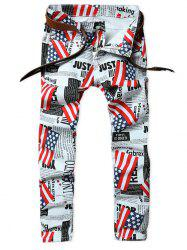 Newspaper American Flag Inspired Five-pocket Jeans -