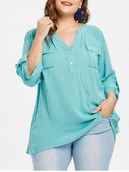 Plus Size Roll Tab Sleeve Flap Pocket Blouse -