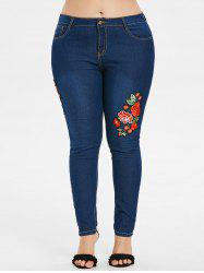 Plus Size Flower Applique Skinny Jeans -