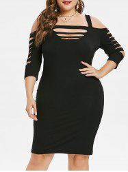 Plus Size Ladder Cut Bodycon Dress -
