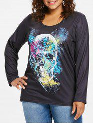 Long Sleeve Plus Size Skull Print T-shirt -