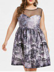 Plus Size Leopard Sheer Mesh Vintage Dress -