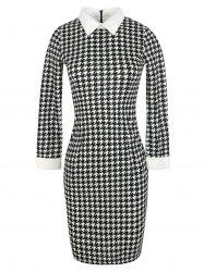 Bodycon Houndstooth Pattern Knee Length Dress -