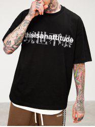 Chinese Character Letter Print Short Sleeve T-shirt -