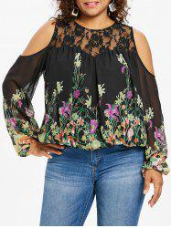 Plus Size Lace Yoke Cold Shoulder Blouse -