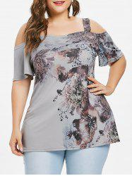 Plus Size Flower Cold Shoulder T-shirt -
