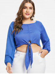 Plus Size Knot Long Sleeve Crop Top -