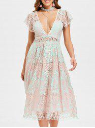 Low Cut Lace Skater Dress -