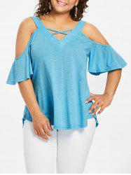 Flare Sleeve Plus Size Criss Cross T-shirt -