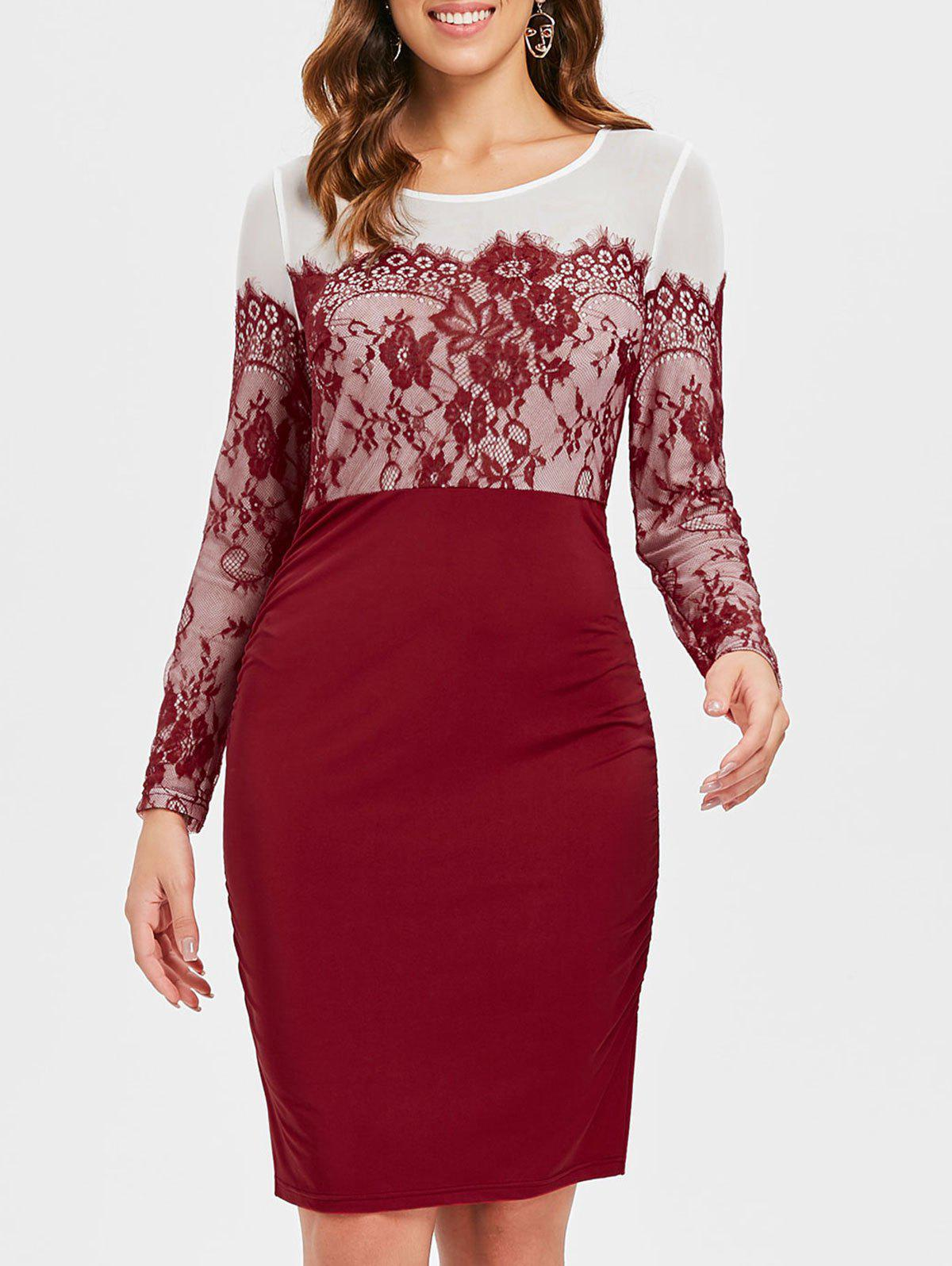 Affordable Lace Panel Full Sleeve Sheath Dress