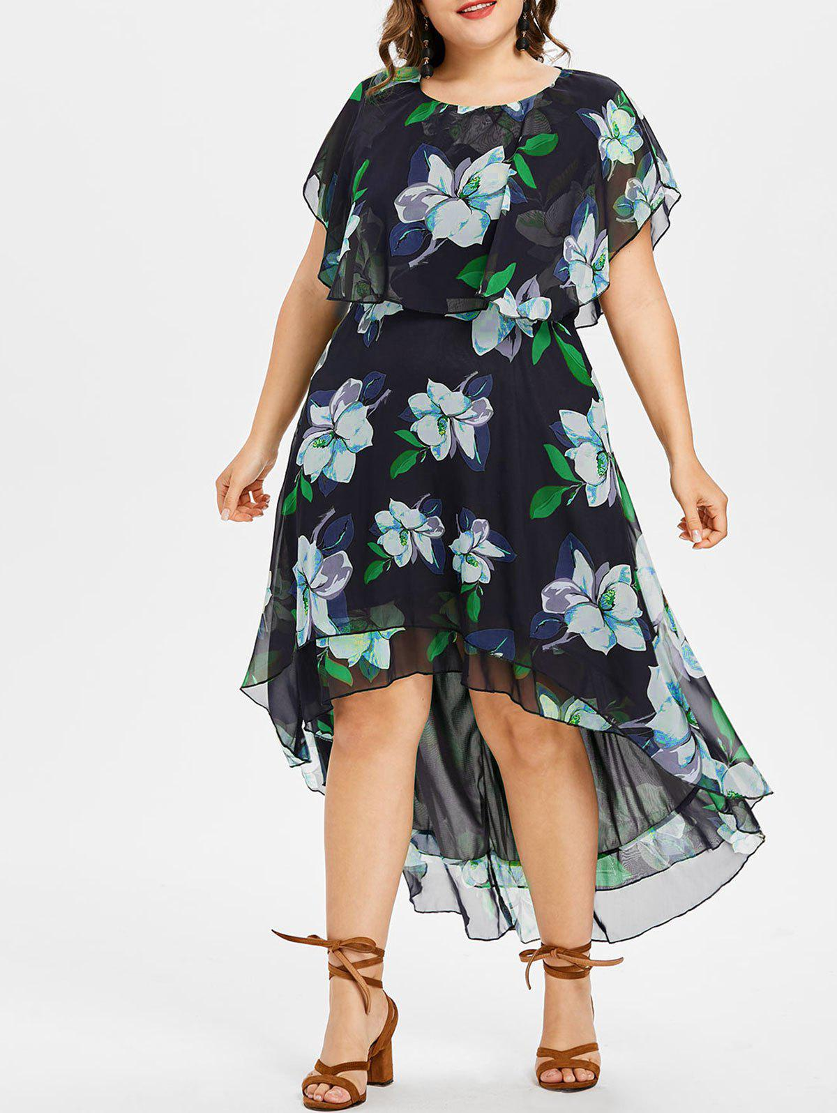 Store Plus Size Floral High Low Dress