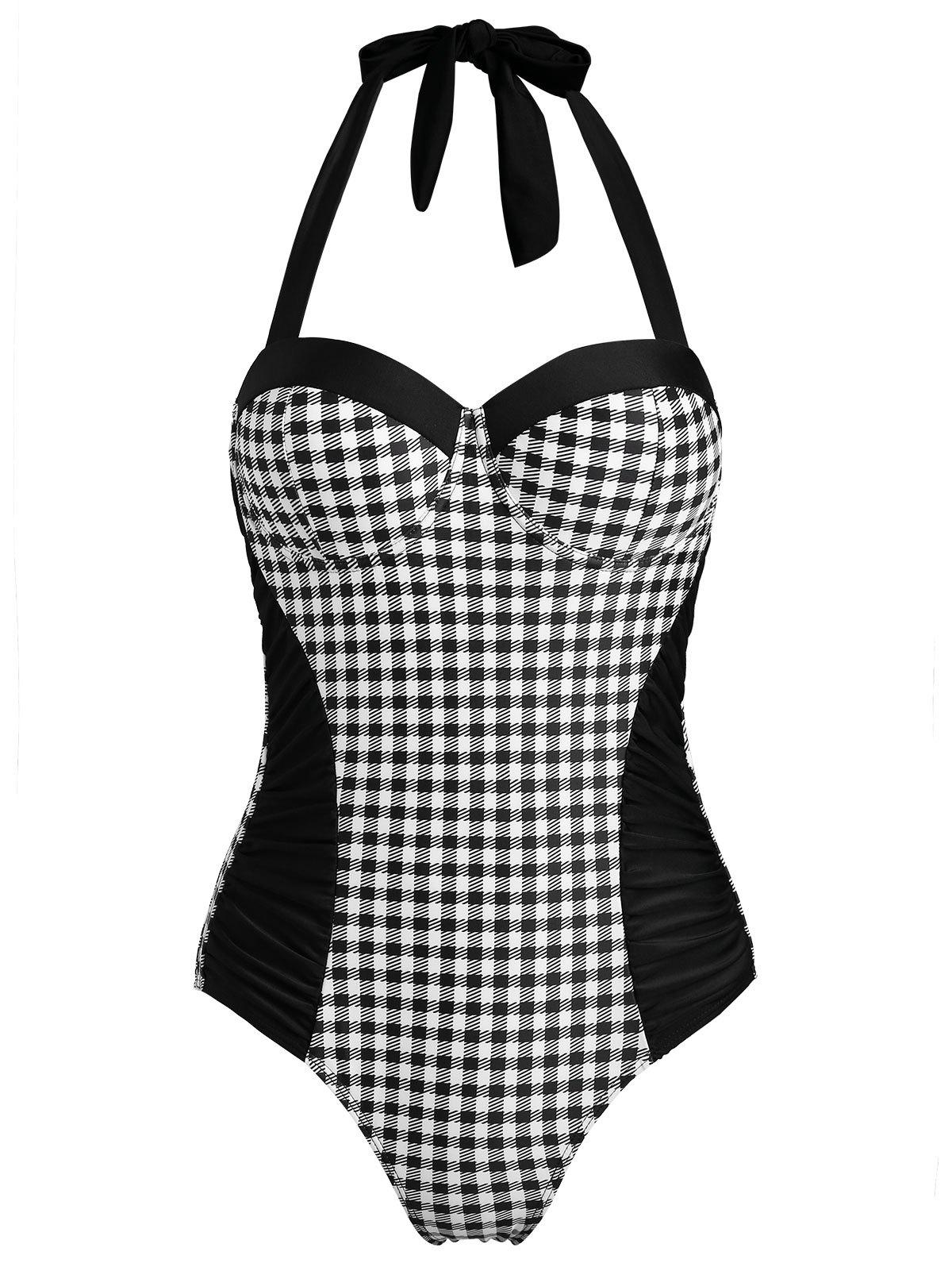Outfit Plaid Halter One-piece Swimsuit