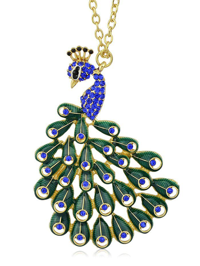 New Hollowed Rhinestone Peacock Shape Pendant Necklace