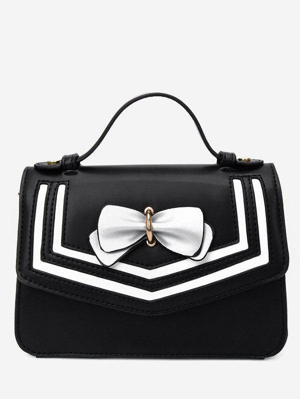 Hot Color Block Bow Decorated Flap Handbag with Strap