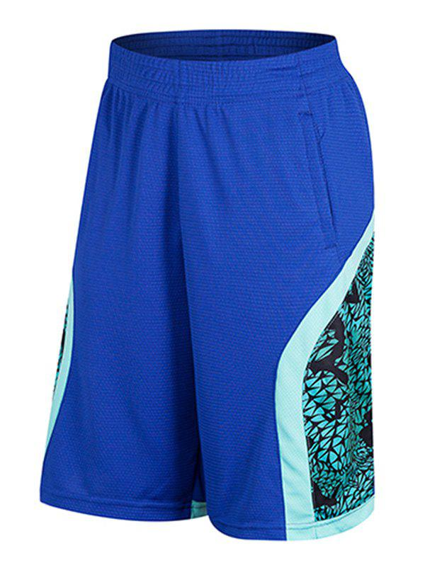 Trendy Geometric Print Patchwork Casual Basketball Shorts